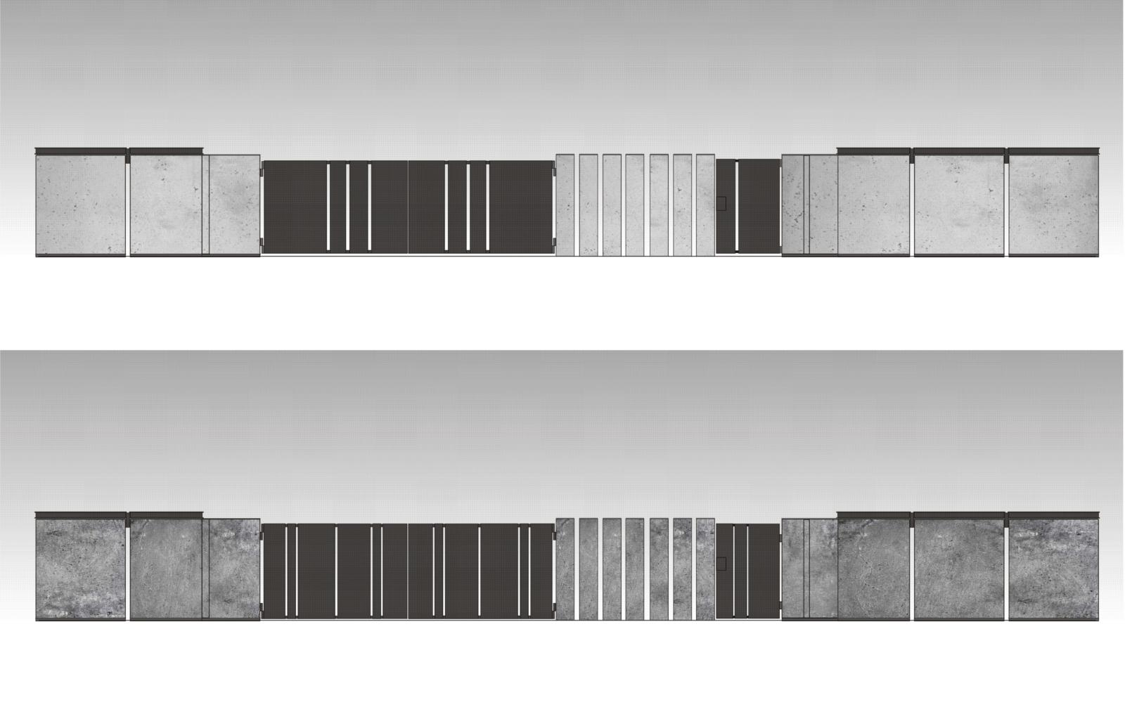 Projekt ogrodzenia posesji - widoki2D