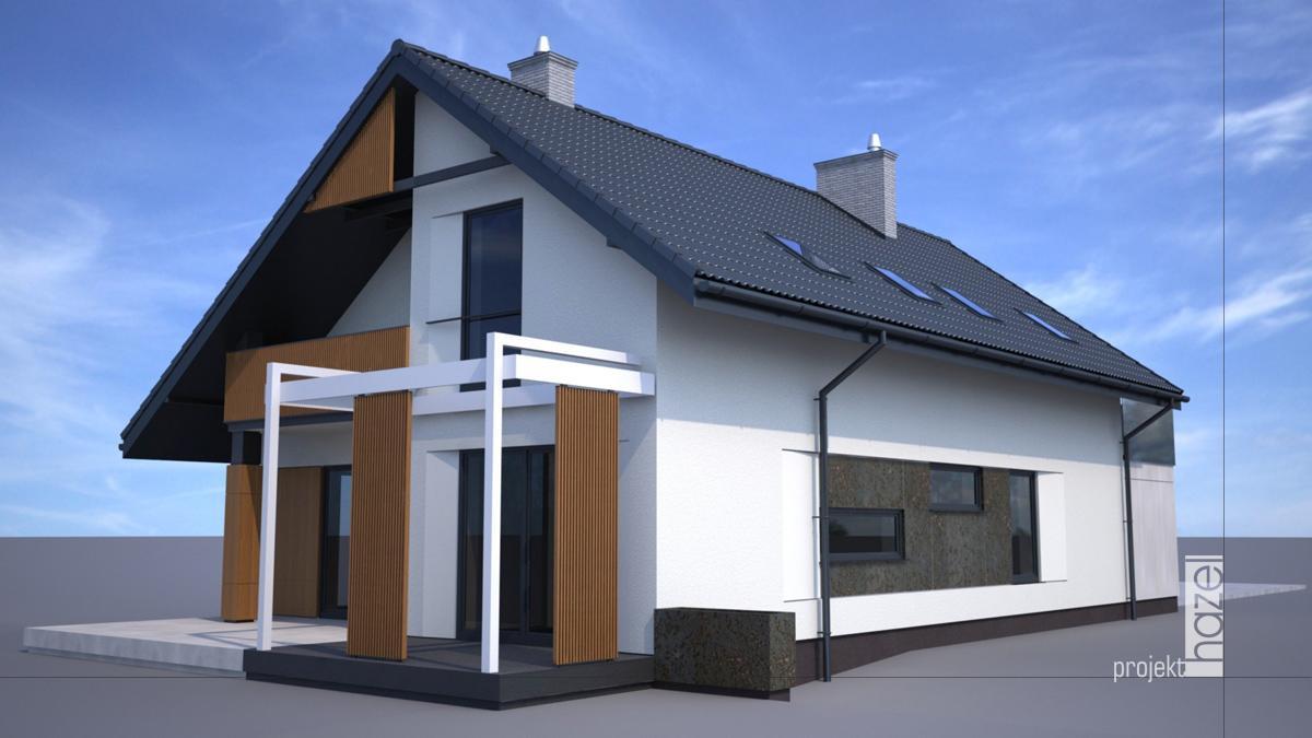 Projekt elewacji domu i ogrodzenia w Tomaszowie Lubelskim